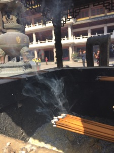 Incense burning at the temple